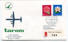 FFC 1965 Tarom First Flight Zurich Bukarest REGISTERED Helvetia Rumanien