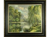English School, 'River Landscape' - Original Oil on Board, Signed C Desborough