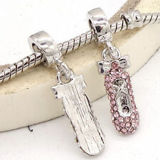 Silver COLOURED CZ  PINK BALLET SLIPPER SHOE Charm Beads Fit Bracelet GW94
