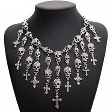 Totenkopf Skull Kreuz Glamour Design Halskette Kette Collier Silber plattiert