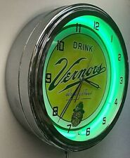 "16"" VERNORS Deliciously Different Ginger Ale Sign Green Neon Clock"