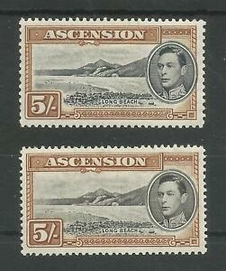 ASCENSION GVI SG46&46a THE 2 PERFS (13&13.5) OF THE 5/- MINT CAT £135