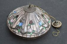 """+ Older Tiffany Style Hanging Stained Glass Lamp w/Shade + 22 1/2"""" diam. (Fj15)"""