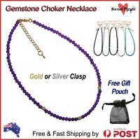 Genuine Gemstone Necklace Onyx Turquoise Rose Quartz Amethyst Aventurine Chakra