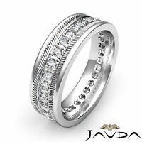 Round Pave Diamond Mens Solid Ring Eternity Wedding Band 14k White Gold 0.65Ct