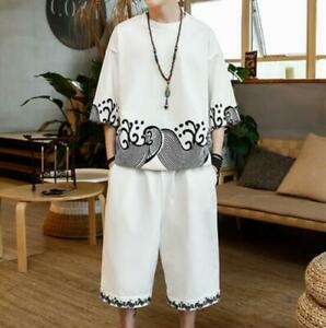 Mens Chinese Tang Linen Pants Kung Fu Short Sleeve Floral Loose Fit Casual Plus