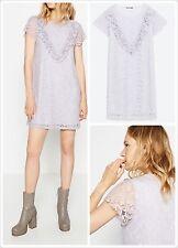 Zara Women's Victorian Blonde Lace Dress Size M New AW16