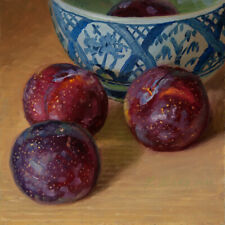 original a painting a day realism still life plums bowl 6x6 inch Y Wang Fine Art