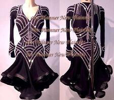 L4018 women ballroom Ramba  Latin /Rhythm Samba US 6 Dance Dress brown sleeve