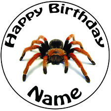 "Spider Tarantula Personalised Icing Cake Topper Round Easy Pre-cut 8"" (20cm)"