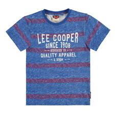 Lee Cooper Boys Blue/Red Striped 100% Cotton T-Shirt - BNWT