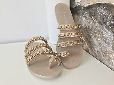 CHANEL GOLD GLITTER LEATHER STRAPPY CHAIN FLAT SANDALS MULES SHOES SIZE 37.5 NIB