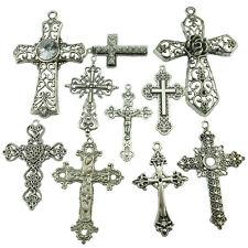 10PCS MIX Alloy Vintage Antique Silver Tone Faith Religious Large Cross Pendant