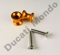 Billet paddock stand spool bobbin gold for Aprilia RSV1000 RS125 RS250 M6 6mm