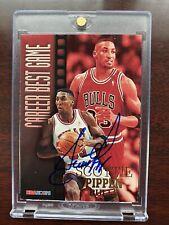 1996-97 NBA HOOPS CAREER BEST GAME SCOTTIE PIPPEN CHICAGO BULLS #341 AUTOGRAPHED