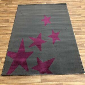 Quality star purple grey bedroom loune Rug 120cm x 170cm  (630)