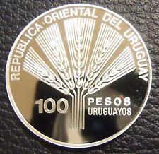 URUGUAY 1995 SILVER COIN 100 Pesos 1995 - FAO 50th Anniversary - UNC