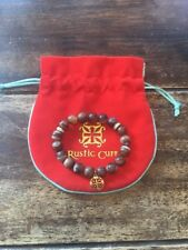 RUSTIC CUFF TRINA BROWN Beaded w/ GOLD & GEMS Bracelet VERY Rare GORGEOUS