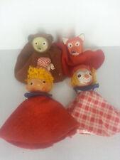 Vintage Hard Head & Cloth Finger Puppets Clown Fox Bear Story Time