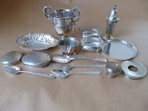JOB LOT ANTIQUE ENGLISH HALLMARKED STERLING SILVER FOR USE SPARE RE-SELL