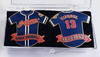 Vintage OMAR VIZQUEL #13 Jersey Lapel Pins (2) Set CLEVELAND INDIANS MLB MINT!