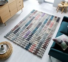 Moda Archer Multi Colour Thick Pile Modern Wool Rug various sizes and runner