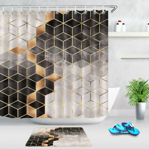 Black Gold Geometric Checkered Blocks Fabric Shower Curtain Set Bathroom Decor