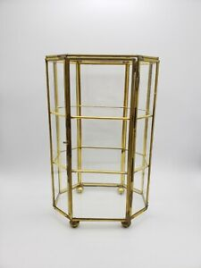Vintage Glass Brass Curio Box Hinged Door Footed 3 Shelves