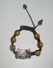 Bracelet Style Shamballa Strass Hello Kitty Jaune & Argent NEUF