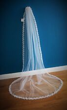 Wedding Veil *Chapel Length*1 Tier*Off White/ Ivory*Corded Lace*