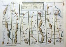 ROAD MAP BY JOHN SENEX c1762 HAND COLOUR  YORKSHIRE DURHAM / WALES CAERNARVAN