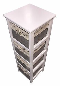 NEW Wooden Slim 4-Drawer Bathroom Cabinet Tall Unit with Maize Storage Baskets