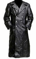 MEN'S CLASSIC MILITARY BLACK LEATHER LONG GERMAN TRENCH COAT