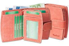 Woodland compact porte-monnaie pour femme en rouge fin, naturel non traité cuir