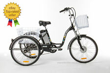 "Tricycle Adulte 24 ""- Alu - 3 Roues - 6 Roues & 2 Paniers - Electrique"