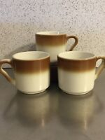 Syracuse China Mugs Set 3 Restaurant Diner Ware Vintage Made in USA Brown Ombre