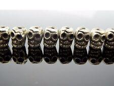 Skull Bead Small Cast Handmade Silver Tone Detailed Tibetan Style 8mm 10 pc.