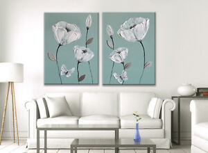 DUCK EGG BLUE PAINTING PICTURE WHITE GREY FLOWER BUTTERFLY ZEN CANVAS ART PRINT
