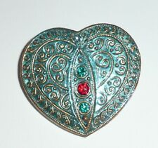 Pretty Glass Heart Blue w/ Gold Finish + Rhinestones Czech Glass Button 32x35mm