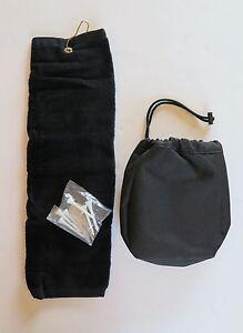 *New - SOREN - Small Drawstring Tote W/ Golf Towel and Tees - Black