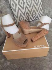 Michael Kors Lucia Tan Khaki Beige Suede Platform Sandals Net A Porter UK 7 NWB