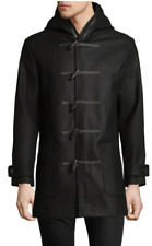 Highline Collective 300$ Hooded Wool-Blend Toggle Coat jacket with leather trim