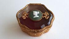 Antique Bronze brass glass top w/cameo medallion Jewelry Box. French Circa 1900