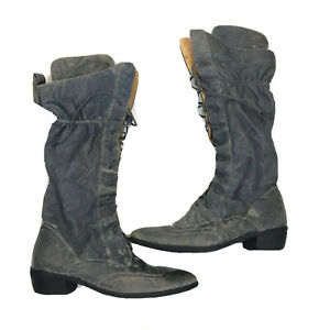 Gillian Julius Women's Size 7 blue leather crinkle ruched Lace Up boots
