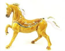 Arabian Horse Light Brown Jeweled Pewter Trinket Box Collectible Home Decor