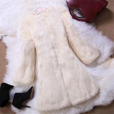Women Real Rabbit Fur Furry Long Jacket Coat Seven Sleeve Outwear Luxury 2017