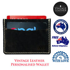 Men's Monogram Buffalo Leather Credit Card Holder Leather Wallet Card Wallet
