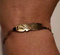 Antique Victorian(1880's) 10KT Rose Gold Etched Bracelet 7in