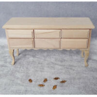 Unpainted Miniature Wooden 6-Drawers Table for 1/12 Dolls House DIY Furniture