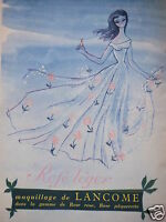 PUBLICITÉ 1954 MAQUILLAGE DE LANCÔME ROSE LÉGER - ADVERTISING